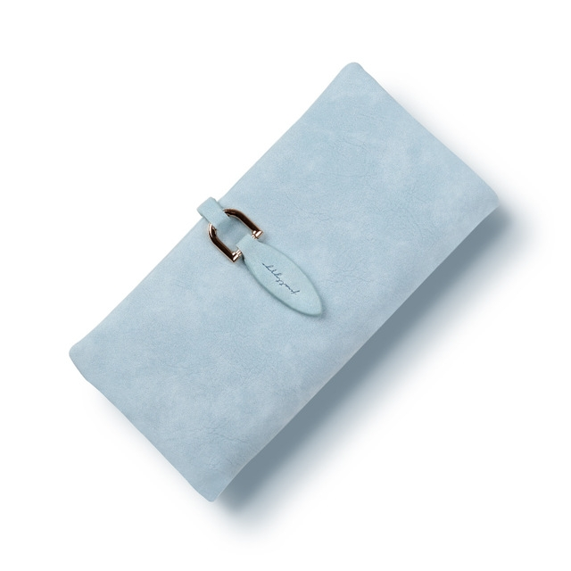 Women leather Leaf Long Wallet Female Coin Purse Change Clasp Purse Money Bag Card Holders sky blue one size