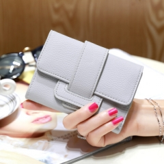 Luxury Soft Leather Women Hasp Wallet Fashion Tri-Folds Clutch For Girls  Card Holders grey one size