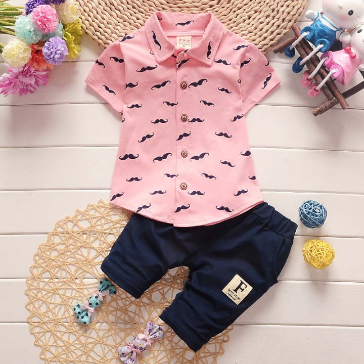 2018 boys and girls kids clothes sets short sleeve shirt + pants clothing sets children baby clothes pink l