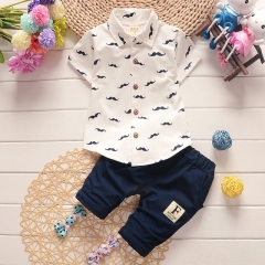 2018 boys and girls kids clothes sets short sleeve shirt + pants clothing sets children baby clothes white s