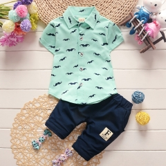 2018 boys and girls kids clothes sets short sleeve shirt + pants clothing sets children baby clothes blue s