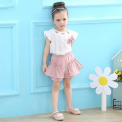 2018 Fashion  Summer Style Kids Clothing Sets Sleeveless White T-shirt+Pink Pants 2Pcs Girls Suits pink 2t