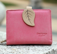 Women Leaf Hasp Wallet Short Middle Leather Coin Purses Card Holders Girls Money Clutch Bag Carteras rose red one size