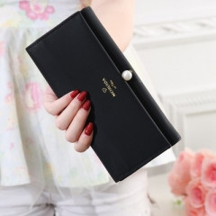 2018 Women Pearl Leather Wallet Fashion Lady Portable Multifunction Long Solid Color Change Purse black one size