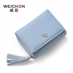 Women Wallet For Coin Card Cash Invoice Fashion Lady Small Purse Short Solid Female Clutch Carteras blue one size
