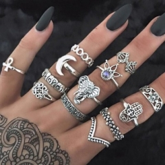 2018 Vintage Knuckle Ring Set for Women Anel Aneis Bague Femme Finger Rings Jewelry silver 13pcs/Set