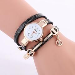 2018 Women watches luxury Analog Alloy Quartz Watch PU Leather Bracelet Watches Gift black