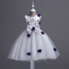 2018 Flower Girls Dress New Summer Princess Party Wedding Pageant Sleeveless Dresses For Girls purple 160cm