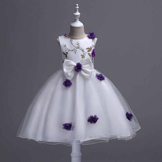 2018 Flower Girls Dress New Summer Princess Party Wedding Pageant Sleeveless Dresses For Girls purple 160cm