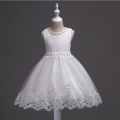2018 Dresses For Girls Summer Brand Wedding Baby Girl Sleeveless Lace Princess Evening Party Dresses white 100cm