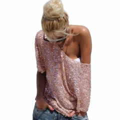 Women Sexy Loose Off Shoulder Sequin Glitter Blouses Summer Casual Shirts Vintage Streetwear Tops pink s
