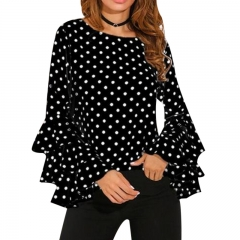 Elegant Polka Dot Print Flare Sleeve Women Blusas Shirts O-neck Long Sleeve Chiffon Blouse Tops black s