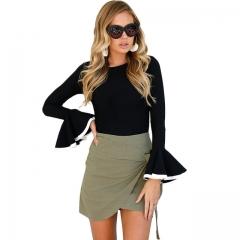 2018 Hot Women Blouse Slim Stiching Kimono Femme Ruffle Blouse Black Shirts Elegant Ladies Tops black s