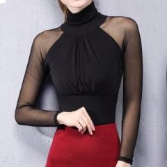 Sexy Lace Mesh Women Blouse Shirt Women Top Transparent Long Sleeve Elastic Slim Skinny blusas black s