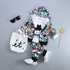 Baby Boy Girls Clothing Sets Cartoon Casual Toddler Girls Baby Suit for Boys Coat + T shirt + Pants green 80cm