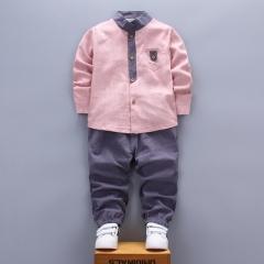 Spring boy clothing casual children baby boy clothing baby clothes shirt+pant boy clothing set pink 80cm