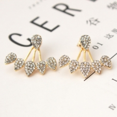 2018 Jewelry Crystal Front Back Double Sided Stud Earrings For Women Ear Jacket Piercing gold 1 pairs/set