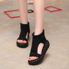 2018 Summer shoes Sandals on the platform flip flops gladiator Bottom Women Shoes footwear heeled black 35