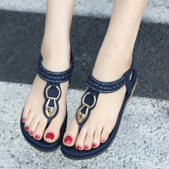 Flat sandals shoes woman String Bead flip flop Metal Decoration beach sandals casual shoes dark blue 35