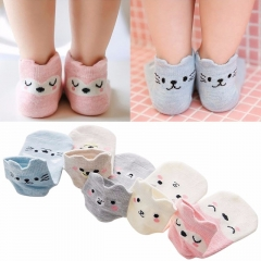5Pairs/Set Cute Animal Face Autumn Winter Cotton Blend Short Socks Child Toddler mixed color s