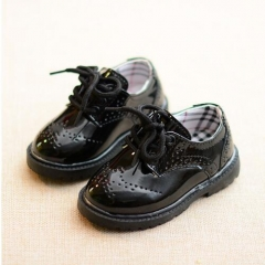 Children Shoes Boys Performance Shoes Black And White Toddler Girl Patent Leather Oxford Baby  Shoes black uk5.5