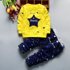 Spring Autumn New Baby Boys Girls Sport Suit Children Boys Clothing Set Toddler Casual Kids Clothes yellow 110cm