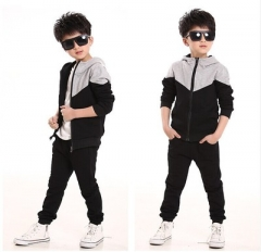 Tracksuits Boys Baby Boy Hoodied Coats And Jackets Pants Sets Children Clothing Sports Suit For Boy black 120cm