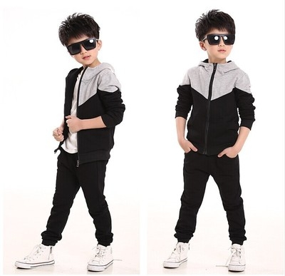 Tracksuits Boys Baby Boy Hoodied Coats And Jackets Pants Sets Children Clothing Sports Suit For Boy black 130cm