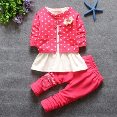 Children Girl Clothing Set Baby Girls Sports Dots Suit Toddler Babies Clothes Outfits Tracksuit red 80cm