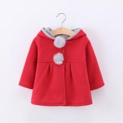 Cute Rabbit Ear Hooded Girls Coat Autumn Tops Kids Warm Jacket Outerwear & Coat Children Clothing red 70cm