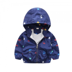 2018 Children jackets casual hooded kids outerwear/coats 1-7T blue and whith style jackets for boys dark blue 90cm