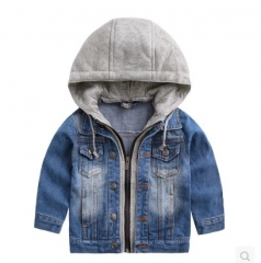 Boys Denim Jacket Classic Zipper Hooded Outerwear Coat Spring Children Clothing Kids Jacket Coat dark blue 100cm