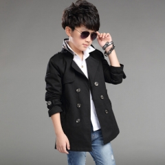 New Boys Long Pattern Casual Boys Belted Trench Coat Child  Spring Boys Jacket Outerwear black 130cm