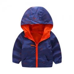 Hooded Boys Jackets Sport Camo Coats For Baby Boys Outerwears Children's Jackets Outdoor Windbreak dark blue 90cm