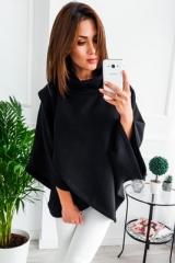 Winter Warm Turtleneck Oversized Hoodies Sweatshirt Women Casual Loose Flare Sleeve Pullovers Female black s