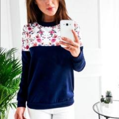 Spring Floral Print Hoodies Women Pullovers Harajuku Jumper Thin Sweatshirt Tops Casual O-Neck top dark blue s