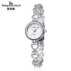 Luxury Watch Women Bracelet Gold Rhinestone Ladies Quartz-watch Waterproof Shockproof with Original white