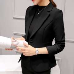 2018 Women Jackets Long Sleeves Office Lady Single Button Women Suit Jacket Female Feminine Blazer black l