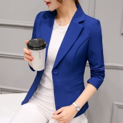 2018 Women Jackets Long Sleeves Office Lady Single Button Women Suit Jacket Female Feminine Blazer blue s