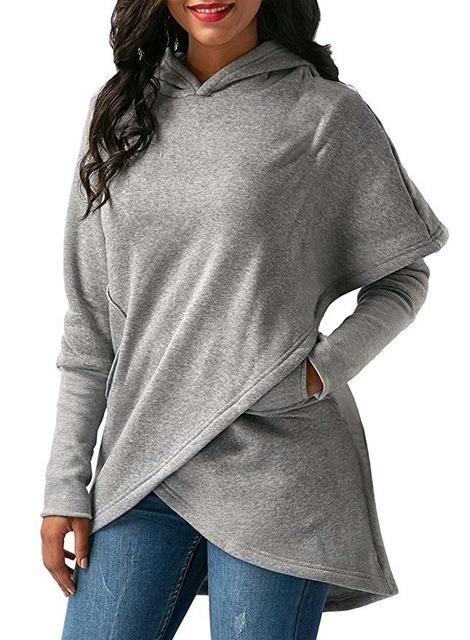 Women Winter Warm  Hoodies sweatshit Coat Female Autumn Long Sleeve Pocket wool Pullover Outerwear grey m