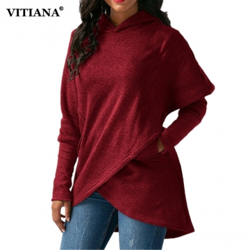 Women Winter Warm  Hoodies sweatshit Coat Female Autumn Long Sleeve Pocket wool Pullover Outerwear wine red l