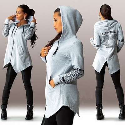 2018 Autumn Jackets Women Long-Sleeved Hooded Hoodies Casual Letter Harajuku Outwear Coat Sweatshirt grey 6xl