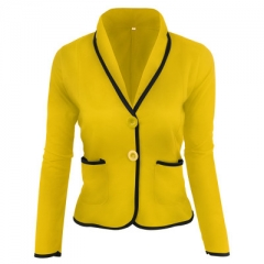 Autumn Jackets Ladies Pocket Long Sleeve Basic Bomber Jacket Short Coat Chaquetas Outwear tops yellow s