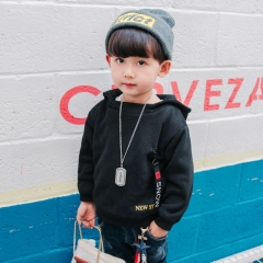 Boys Clothes Autumn Fleece Streetwear Cotton Solid Velvet T-shirt Fashion Hoodies Children Outwear black 100cm