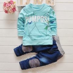 Children Clothing sets Hooded Coat+pants letter baby Boy Suit Fall Cotton sport tracksuit outdoor sky blue 80cm