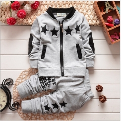 Autumn Baby Clothing Sets Children Boys Tracksuits Kids Sport Suits Kids Long Sleeve Shirt +pants grey 80cm