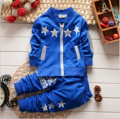 Autumn Baby Clothing Sets Children Boys Tracksuits Kids Sport Suits Kids Long Sleeve Shirt +pants blue 90cm