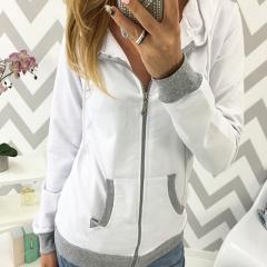 Women Hoodies Sweatshirts with Zipper Casual Long Sleeve Hoodie Women tracksuit Coat Ladies Tops white s