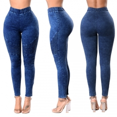 2018 Women Jeans High Waist Slim Long Jeans Female Elastic Waist Pencil Jeans Pants Causal Hip Jeans dark blue s