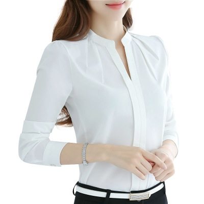 fbb37e0d00d Women Tops Long Sleeve Casual Chiffon Blouse Female V-Neck Work Wear Solid  Color White Office Shirts white 2xl  Product No  1309545. Item specifics   Seller ...